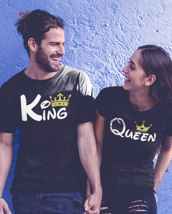 Smiešne tričká KOMPLET - king queen zlatá koruna