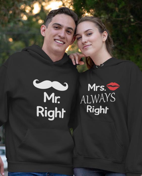 Zábavné mikiny Mr & Mrs always right