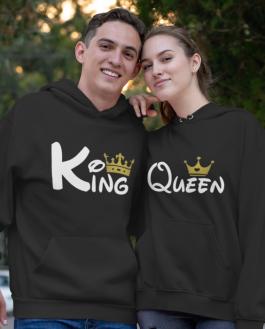 Zábavné mikiny king queen zlatá koruna